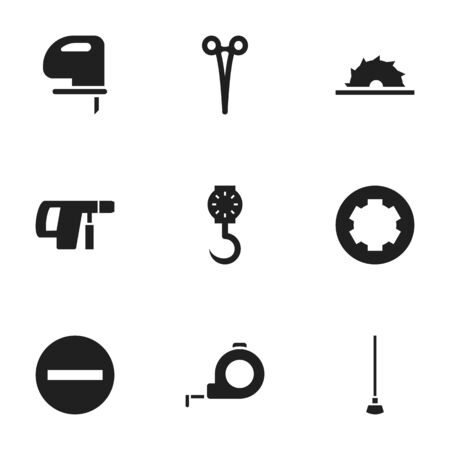 drill: Set Of 9 Editable Apparatus Icons. Includes Symbols Such As Sawblade, Screw Head, Surgical Scissors And More Illustration