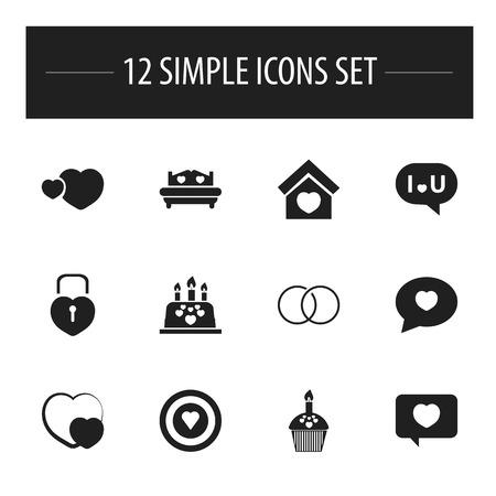Ensemble de 12 icônes d'amour modifiables. Comprend des symboles tels que le jeu de fléchettes, le c?ur verrouillé, la confession, etc.