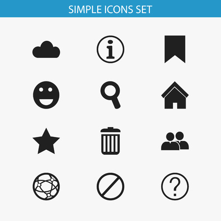 Set Of 12 Editable Internet Icons. Includes Symbols Such As Group, Quiz, Magnifier And More