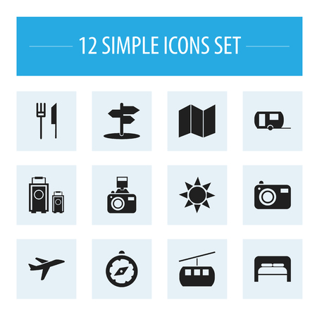 gps device: Set Of 12 Editable Travel Icons. Includes Symbols Such As Vacation, Crossroad, Snapshot And More