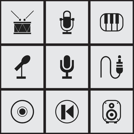 minijack: Set Of 9 Editable Melody Icons. Includes Symbols Such As Phonogram, Speaker, Mike And More Illustration