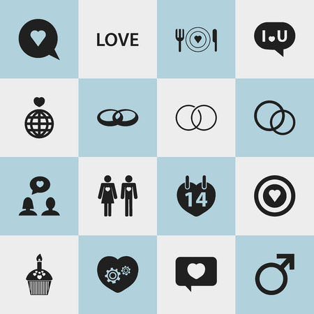 Set Of 16 Editable Love Icons. Includes Symbols Such As Engagement, Jewelry, Dishes And More