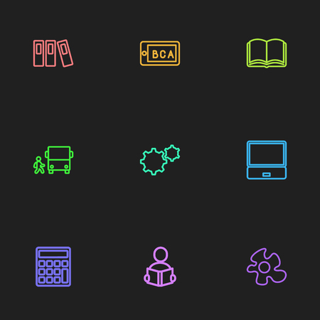 Set Of 9 Editable Science Outline Icons. Includes Symbols Such As Food, Calculate, Teaching And More