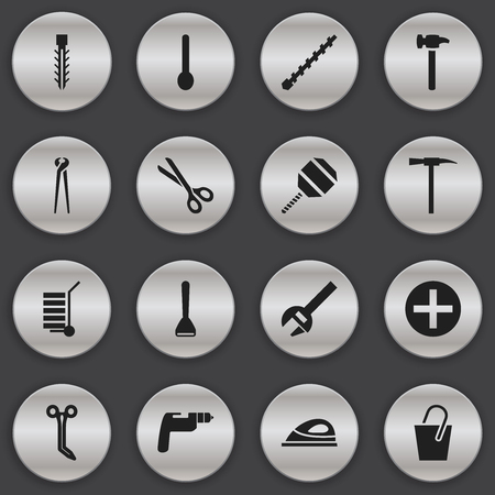 Set Of 16 Editable Instrument Icons. Includes Symbols Such As Pincers, Repairing Tool, Shear And More