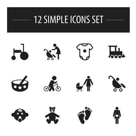 Ensemble de 12 icônes Kid modifiables. Comprend des symboles tels que Velocipede, femme avec bébé, vélo et plus