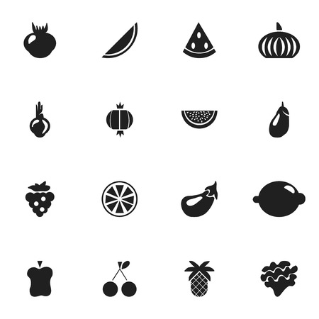 petiole: Set Of 16 Editable Fruits Icons. Includes Symbols Such As Lettuce, Lime, Sativum And More Illustration