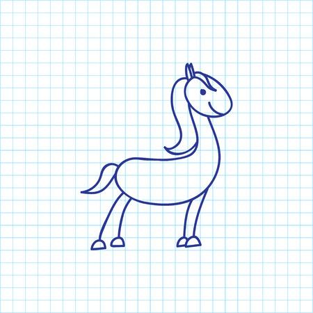 Vector Illustration Of Animal Symbol On Horse Doodle