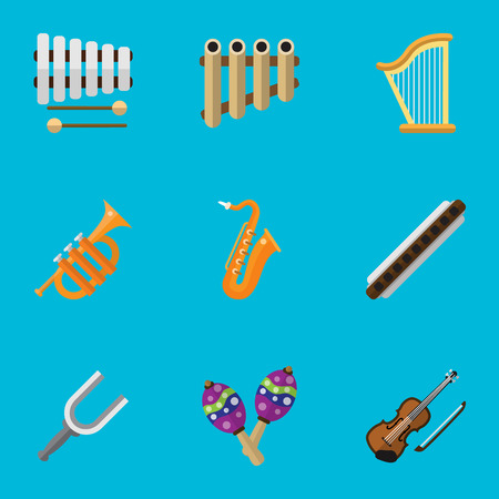 Set Of 9 Editable Multimedia Flat Icons. Includes Symbols Such As Tuba, Beanbag, Sticks And More Illustration