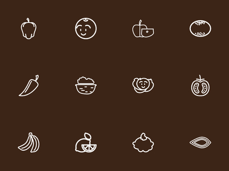 vanilla pudding: Set Of 12 Editable Vegetable Outline Icons. Includes Symbols Such As Apple Slice, Cole, Lemon And More Illustration