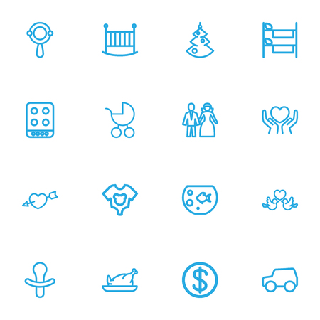Set Of 16 Editable Folks Outline Icons. Includes Symbols Such As Heart, Car, Heart In Hand Ilustração