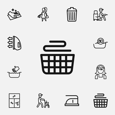 Set Of 12 Editable Hygiene Outline Icons. Includes Symbols Such As Wiping, Vacuuming, Clean And More Stock Vector - 83879966
