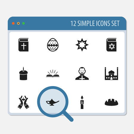 persuasion: Set Of 12 Editable Religion Icons. Includes Symbols Such As Chapel, Pope, Asterisk And More Illustration