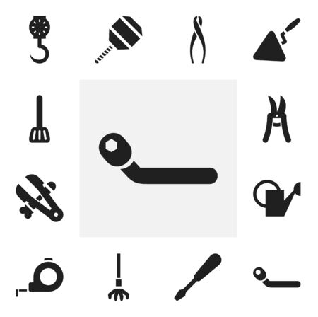 drill: Set Of 12 Editable Apparatus Icons. Includes Symbols Such As Circle Spanner, Pruning Shears, Band