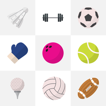 knocking: Set Of 9 Editable Active Flat Icons. Includes Symbols Such As Miniball, Sphere, Kegling And More Illustration