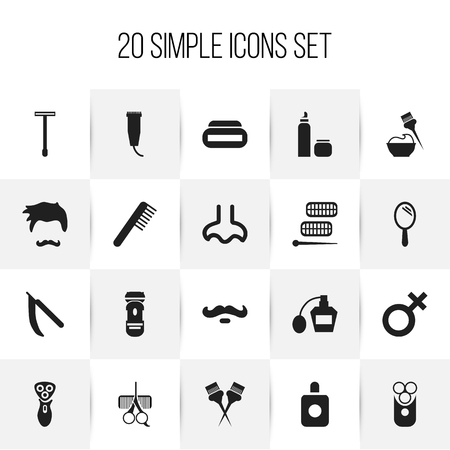 hairdresser: Set Of 20 Editable Barber Icons. Includes Symbols Such As Spa, Shaving, Besom And More Illustration