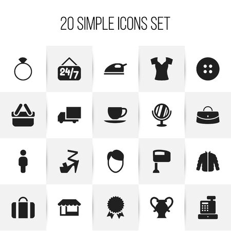 barbershop: Set Of 20 Editable Shopping Icons. Includes Symbols Such As Attache Case, Grocery, Reticule And More