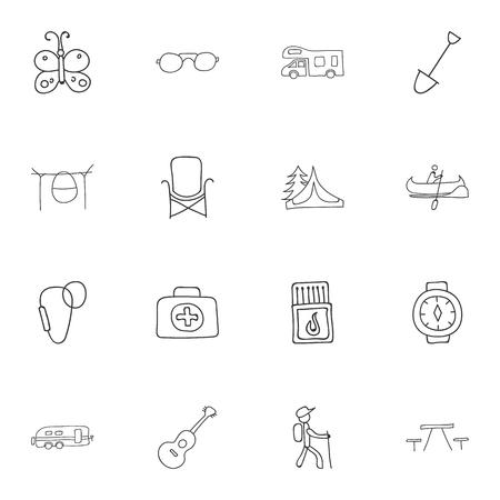 karabiner: Set Of 16 Editable Trip Doodles. Includes Symbols Such As Medical Kit, Campfire Cooking, Flammable Stick And More Illustration