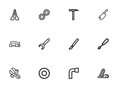 Set Of 12 Editable Tools Outline Icons. Includes Symbols Such As Vice, Spacer, Pickaxes And More Illustration
