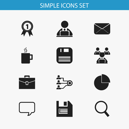 disk break: Set Of 12 Editable Office Icons. Includes Symbols Such As Workman In Laptop, Mug, Epistle And More