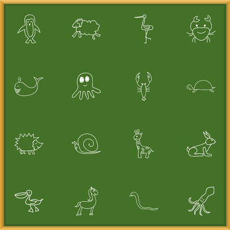 antarctic: Set Of 16 Editable Animal Doodles. Includes Symbols Such As Shadoof, Pony, Rabbit And More