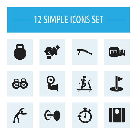 heaviness: Set Of 12 Editable Fitness Icons. Includes Symbols Such As Balance, Stopwatch, Weightlifting And More
