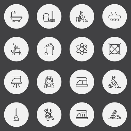 Set Of 16 Editable Hygiene Outline Icons. Includes Symbols Such As Window Cleaner, Housekeeping, Mopping And More Ilustração