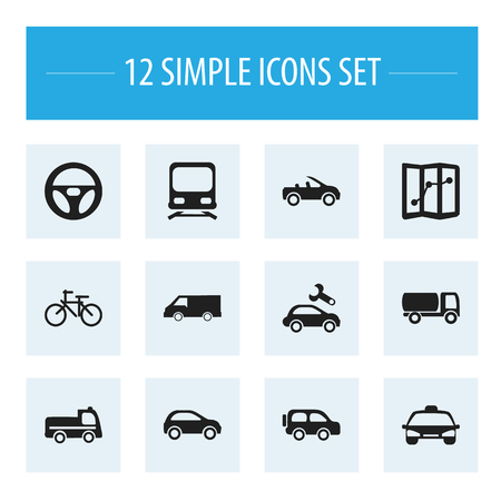 automotive industry: Set Of 12 Editable Transport Icons. Includes Symbols Such As Drive Control, Van, Family Jeep And More Illustration