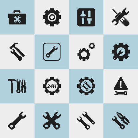 case: Set Of 16 Editable Repair Icons. Includes Symbols Such As Gear, Spanner, Reconstruction And More