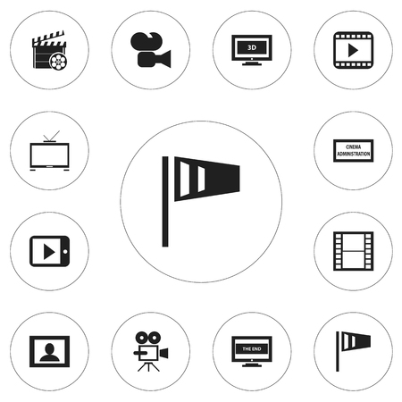 Set Of 12 Editable Movie Icons. Includes Symbols Such As Tablet Play, Hd Television, Pennant And More