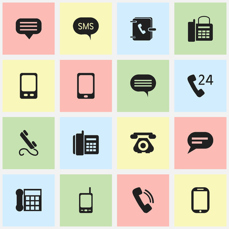 gps device: Set Of 16 Editable Phone Icons. Includes Symbols Such As Chat, Comment, 24 Hour Servicing And More