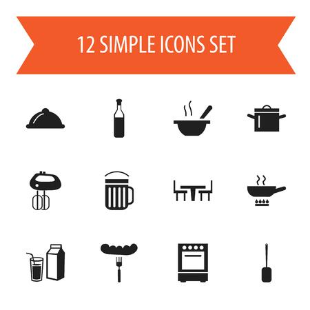 Set Of 12 editable cook icons. Vektoros illusztráció