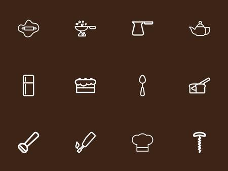 Set von 12 bearbeitbaren Kochsymbolen. Enthält Symbole wie Kochnische, Kochmütze, Kühlschrank und vieles mehr. Kann für Web, Mobile, UI und Infografik Design verwendet werden. Standard-Bild - 84175719