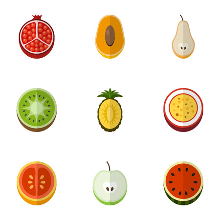 Set Of 9 Editable Fruits Flat Icons. Includes Symbols Such As Orange, Garnet, Marakuja And More. Can Be Used For Web, Mobile, UI And Infographic Design.
