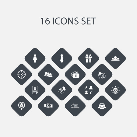 Set Of 16 Editable Business Icons. Includes Symbols Such As Cv, Idea, Publish And More. Can Be Used For Web, Mobile, UI And Infographic Design.