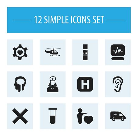 hospitalization: Set Of 12 Editable Clinic Icons. Includes Symbols Such As Pulse, Wound Band, Analysis Container. Can Be Used For Web, Mobile, UI And Infographic Design. Illustration
