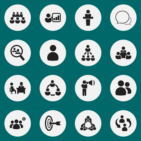 Set Of 16 Editable Team Icons. Includes Symbols Such As Meeting, Speaker, Debate And More. Can Be Used For Web, Mobile, UI And Infographic Design. Illustration