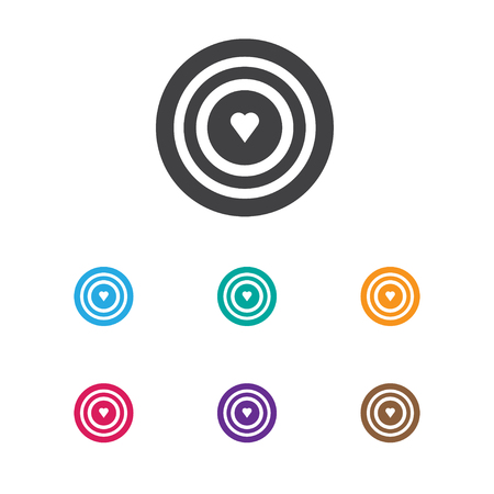 acquaintance: Vector Illustration Of Passion Symbol On Cupid Target Icon. Premium Quality Isolated Aim Element In Trendy Flat Style.
