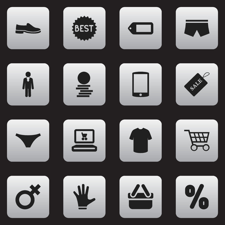 supermarket: Set Of 16 Editable Business Icons. Includes Symbols Such As Boy Blouse, Cart, Label And More. Can Be Used For Web, Mobile, UI And Infographic Design.
