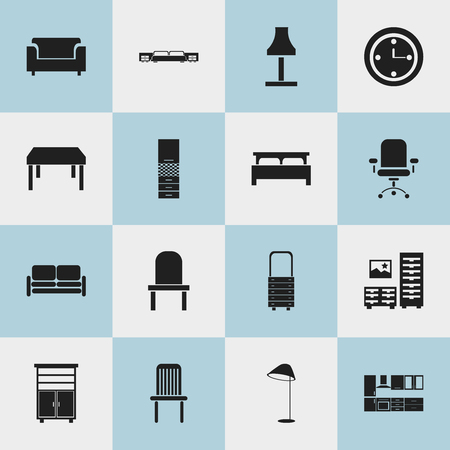 comfortable: Set Of 16 Editable Furnishings Icons. Includes Symbols Such As Cabinet, Cooking Furnishings, Illuminant And More
