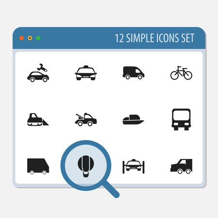 camion: Set Of 12 Editable Transportation Icons. Includes Symbols Such As Yacht, Food Transport, Delivery And More