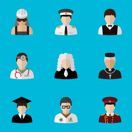 Set Of 9 Editable Profession Flat Icons. Includes Symbols Such As Medic, Electrician, Lawyer And More Illustration