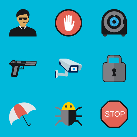 aegis: Set Of 9 Editable Security Flat Icons. Includes Symbols Such As Stop, Safe, Parasol And More Illustration