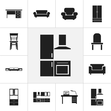 couch: Set Of 12 Editable Interior Icons. Includes Symbols Such As Couch, Cooking Furnishings, Mattress And More