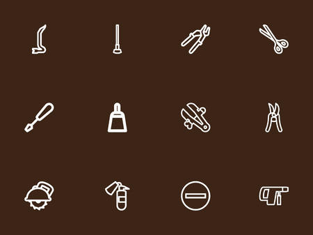 Set Of 12 Editable Instrument Outline Icons. Includes Symbols Such As Jimmy, Electric Screwdriver, Pruning Shears And More