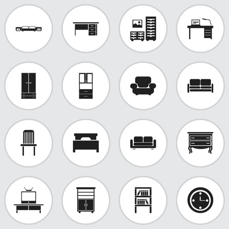 Set Of 16 Editable Furniture Icons. Includes Symbols Such As Cabinet, Watch, Bookrack And More Illustration