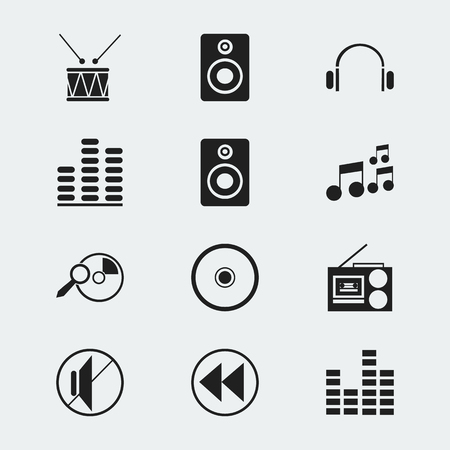 silent: Set Of 12 Editable Media Icons. Includes Symbols Such As Drum, Equalizer, Silent And More