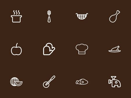Set Of 12 Editable Cooking Outline Icons. Includes Symbols Such As Grill, Pizza Blade, Beef And More