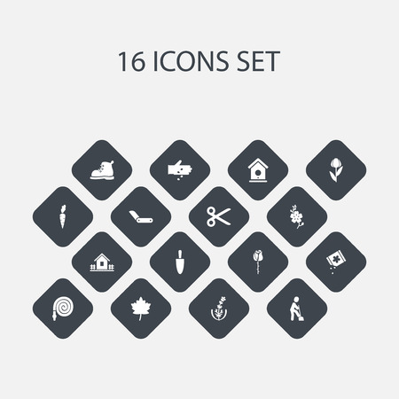 Set Of 16 Editable Gardening Icons. Includes Symbols Such As Seed Planting, Leaf, Clasp Knife And More