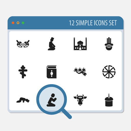 Set Of 12 Editable Religion Icons. Includes Symbols Such As Candle Light, Spring Pie, Orison Illustration