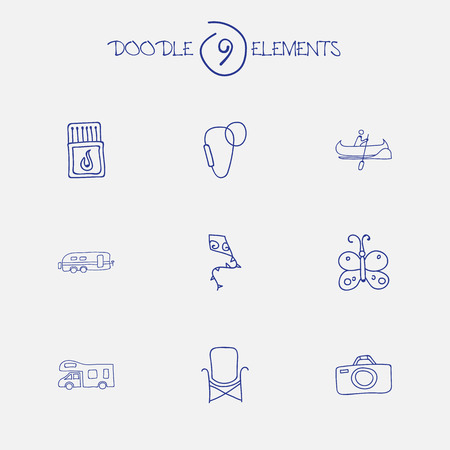 karabiner: Set Of 9 Editable Trip Doodles. Includes Symbols Such As Boat, Flying Toy, Carabine And More Illustration
